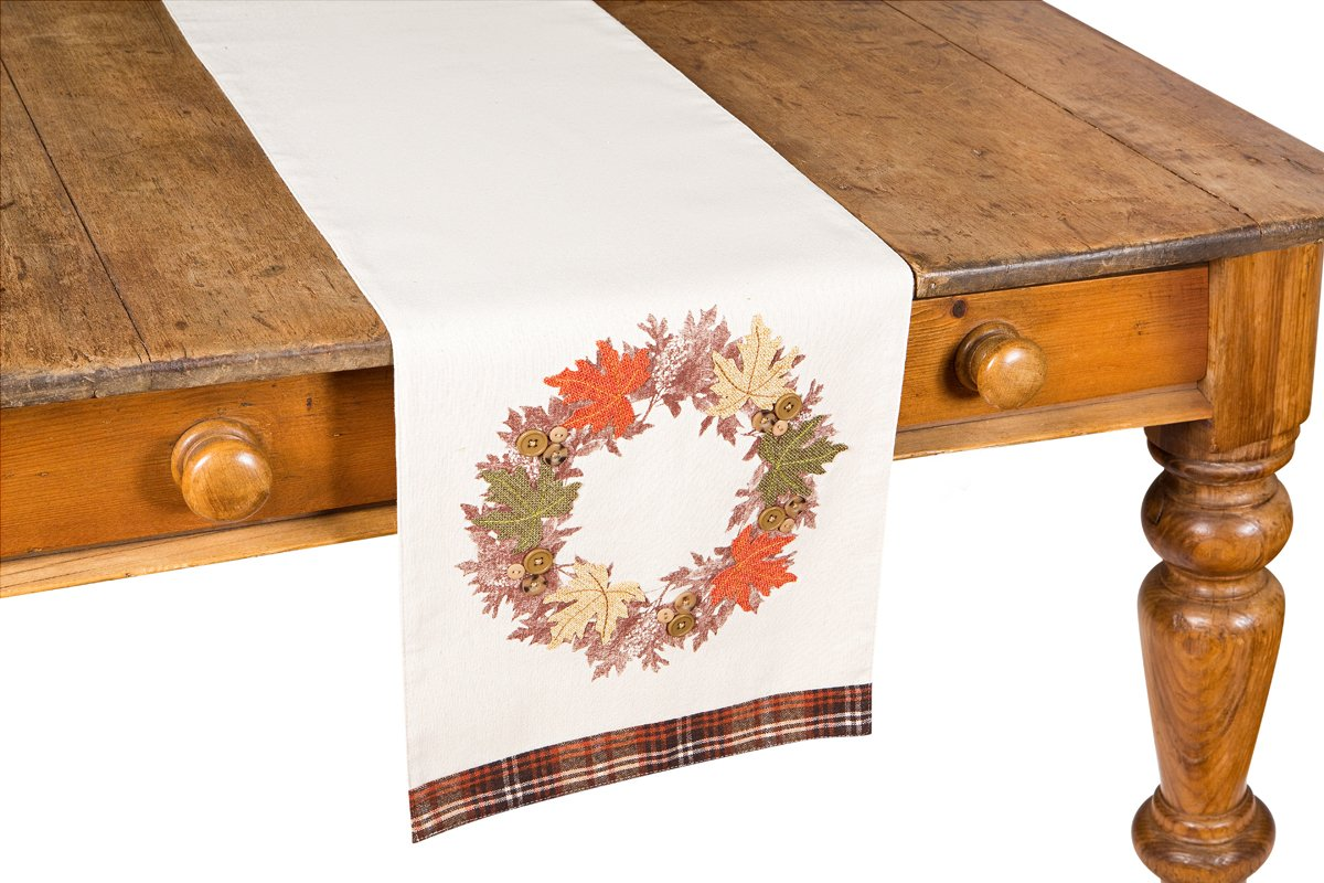 Xia Home Fashions Maple Wreath Fall Table Runner, 13 by 72''