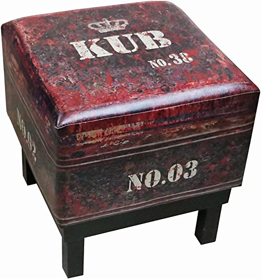 NACH Square Faux Leather Stool Ottoman, Black