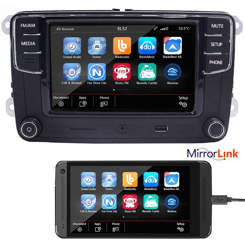 6,5' Autoradio de voiture radio Rcd330g + Mirrorlink, Bluetooth,USB, AUX, SD,RVC,pour VW Golf, Caddy, Passat, CC, Tiguan 5 Autoradio de voiture radio Rcd330g + Mirrorlink EODA