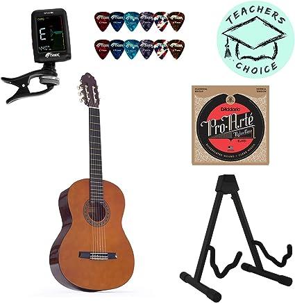 Valencia 1/4 Guitarra clásica tamaño Kids con cuerdas, afinador ...