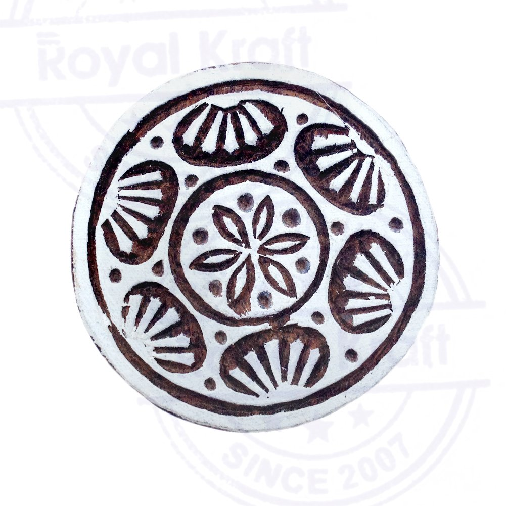 DIY Henna Fabric Textile Paper Clay Pottery Block Printing Stamp Handmade Print Blocks Round Mandala Designs Wooden Stamps