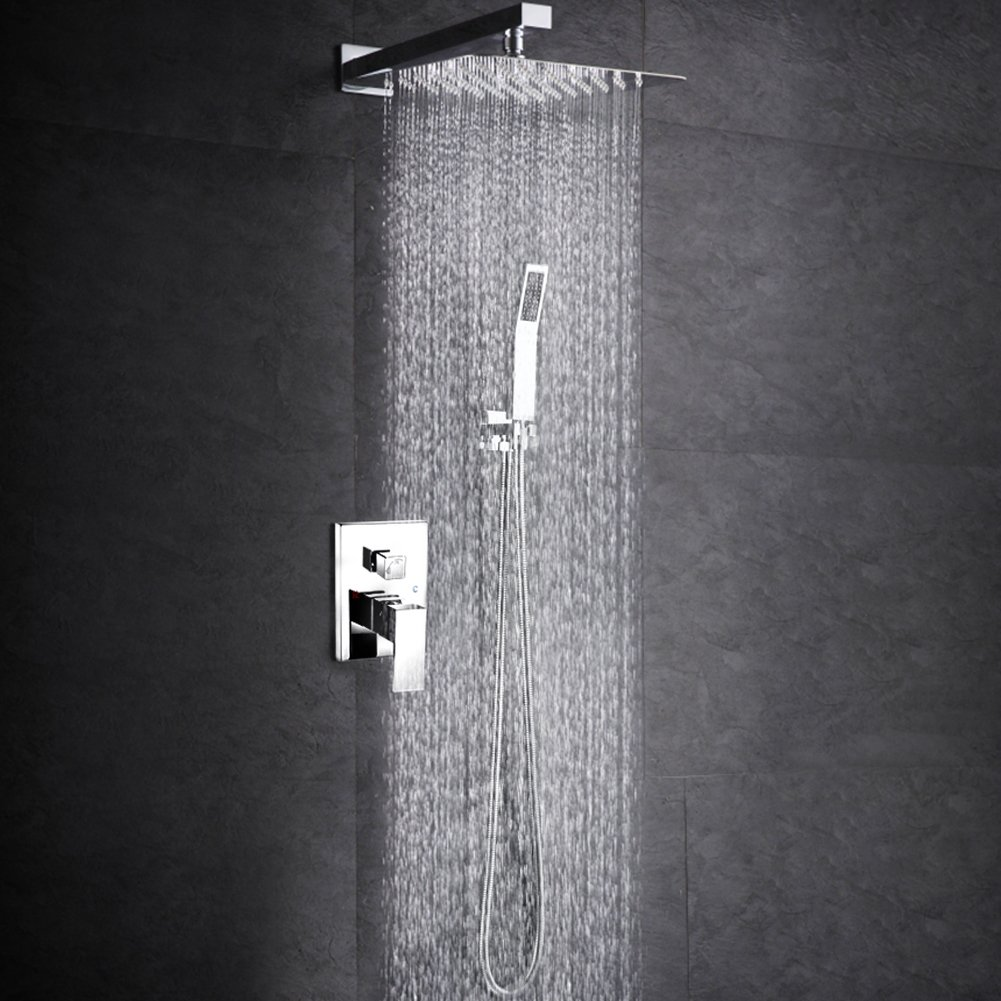 SR SUN RISE SRSH-D1203 Bathroom Luxury Rain Mixer Shower Combo Set Wall Mounted Rainfall Shower Head System Polished Chrome (Shower Valve is NPT 1/2'')