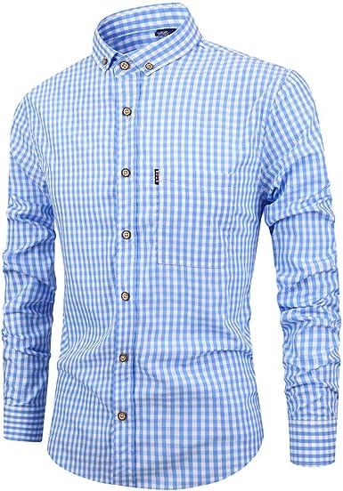 Ocamo Camisa Delgada de Manga Larga a Cuadros de algodón Transpirable de los Hombres: Amazon.es: Ropa y accesorios