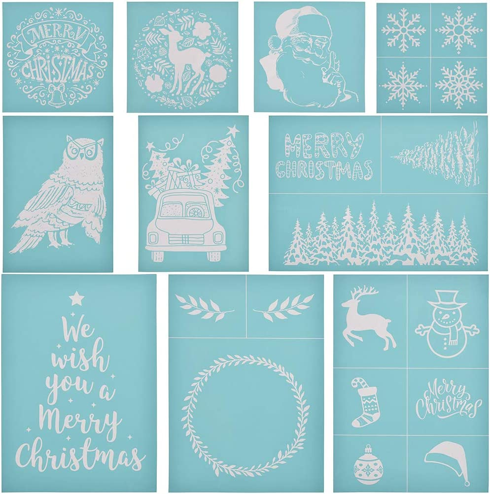 Paper T-Shirts CHZIMADE Christmas Theme Self-Adhesive Silk Screen Stencil Printing Mesh Transfers for Bag and Home Decoration