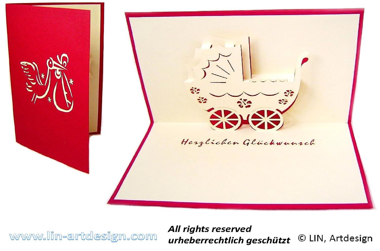Tarjetas de felicitación 3d, diseño de cigüeña y cochecito ideal ...