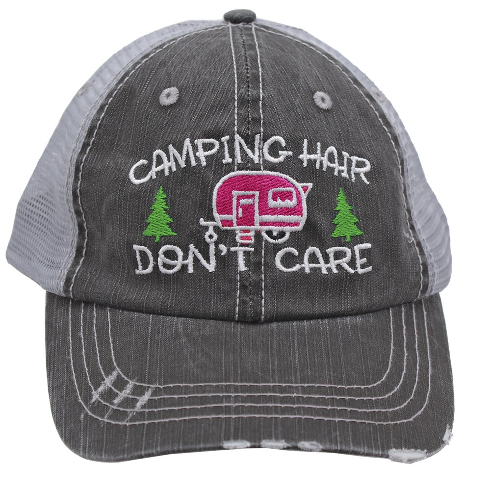 Hot Pink Camping Hair Don't Care Women Embroidered Trucker Style Cap Hat