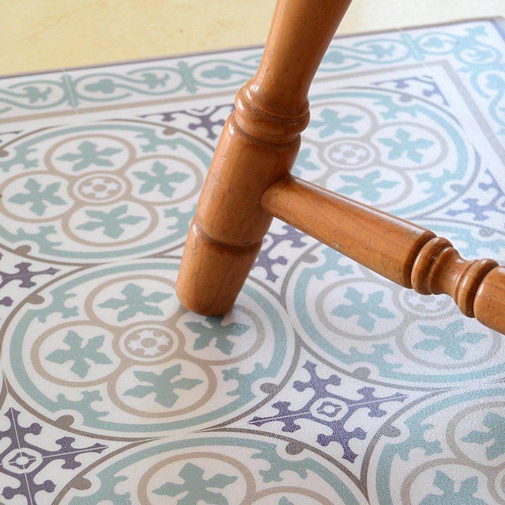 PVC vinyl mat Carpet Tiles Pattern Decorative linoleum rug ,FREE Shipping, gift for holidays, Turquoise Blue 106