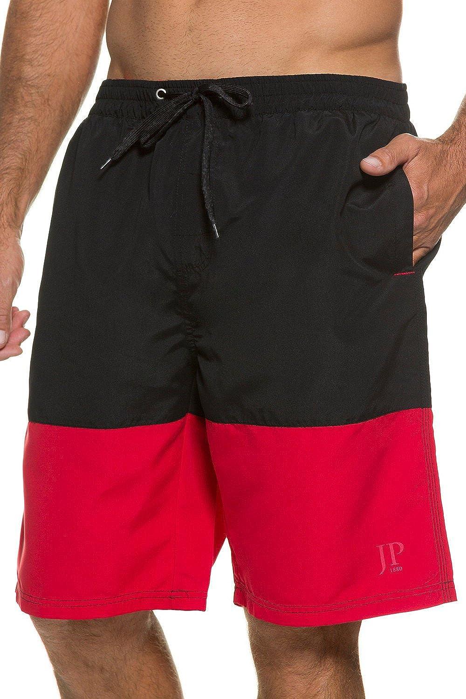 JP1880 Men's Big & Tall Color block Board Shorts Swim Shorts Black/Red Large 705617 10-L