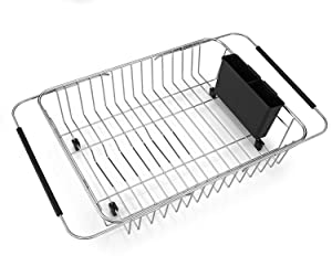 SANNO Expandable Dish Drying Rack,Over The Sink Adjustable Arms Dish Drainer,Dish Rack in Sink or On Counter with Utensil Silverware Storage Holder, Rustproof Stainless Steel