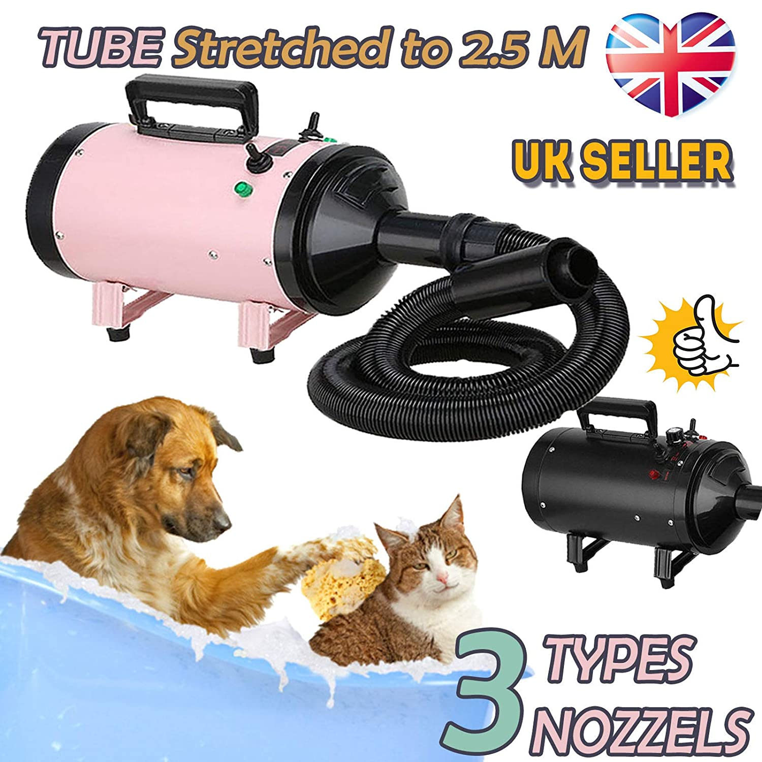 Black (stepless wind speed) 2800W Dog Cat Pet Hair Dryer Powerful Professional Stepless Speed Grooming Blaster Blower Adjustable Low Noise 2.5M Flexible Hose with 3 Nozzles Black