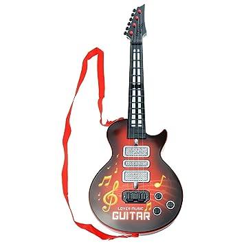 Guitarra eléctrica para niños, aPerfectLife Multi-función Niños Guitarra eléctrica 4 cuerdas Instrumentos musicales Juguete educativo Niños Rock ...