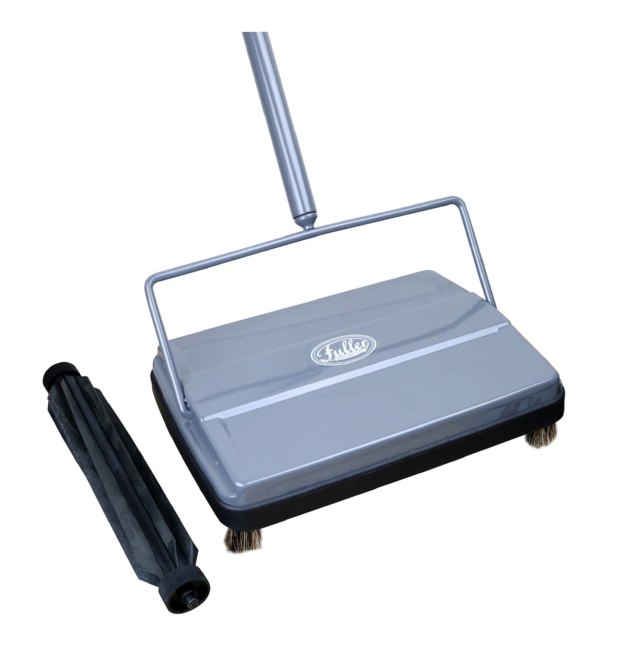 Fuller Brush Electrostatic Carpet & Floor Sweeper with Additional Rubber Rotor - 9'' Cleaning Path - Gray