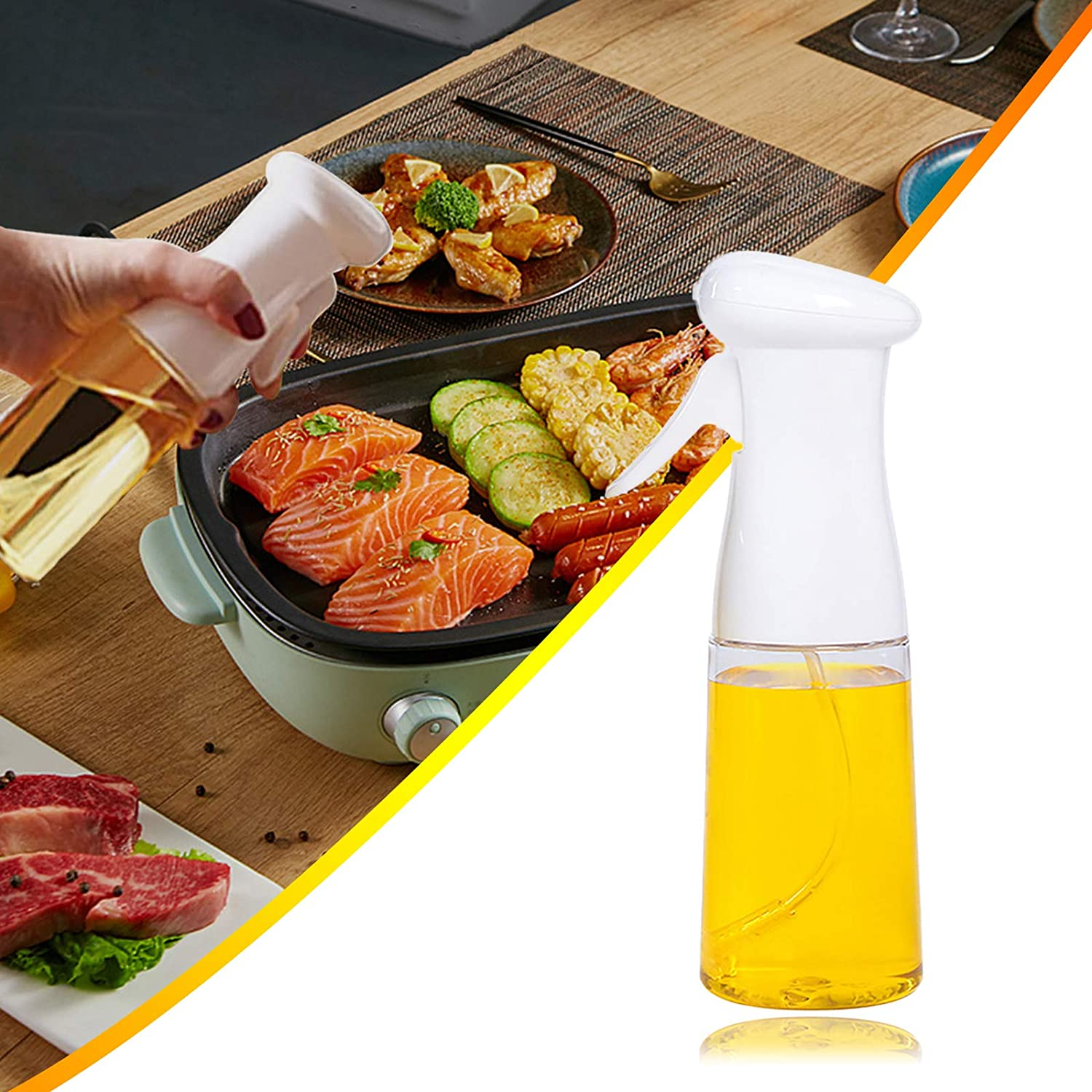 Olive Oil Sprayer,Oil Spray for Cooking,Vinegar Sprayer,BBQ Cooking Spray Bottle for Grilling Cooking,BBQ,Salad,Baking,Roasting,Grilling,Frying,Easy to Use (White)
