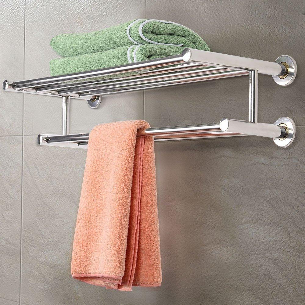IHP Wall Mounted Towel Rack Bathroom Hotel Rail Holder Storage Shelf Stainless Steel