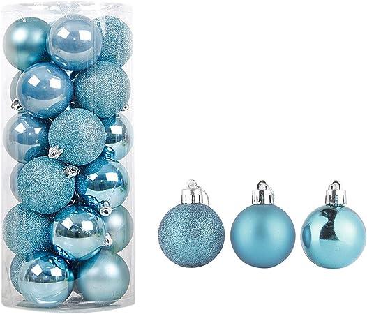 Semen Bolas de Navidad Bolas de árbol Decoraciones Ornamento de Navidad Festival Fiesta Colgante Bolas (Azul Cielo, 6 cm): Amazon.es: Hogar