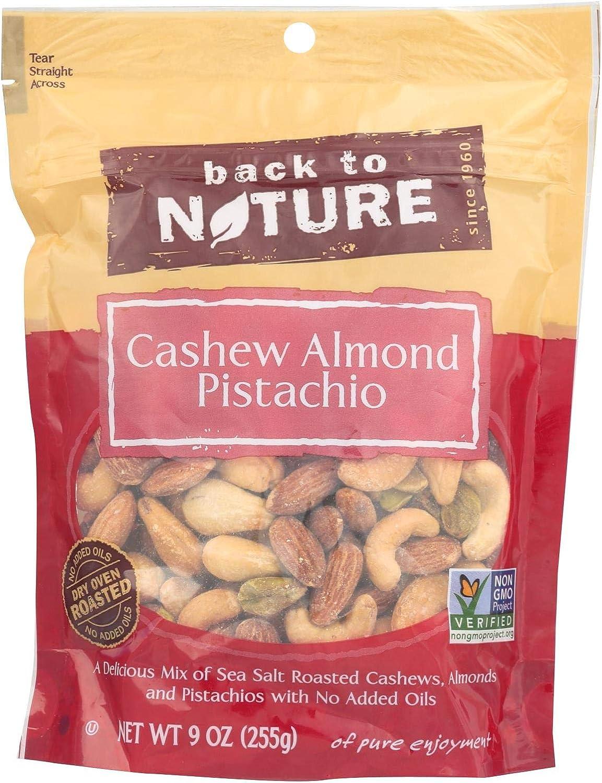 Back To Nature Cashew Almond Pistachio Mix - Case of 9 - 9 oz.