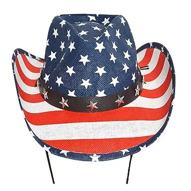 c473bb85ea4ff Ibeauti USA American Flag Cowboy Cowgirl Hat Western Style Shapeable Straw  Hat (USA Flag
