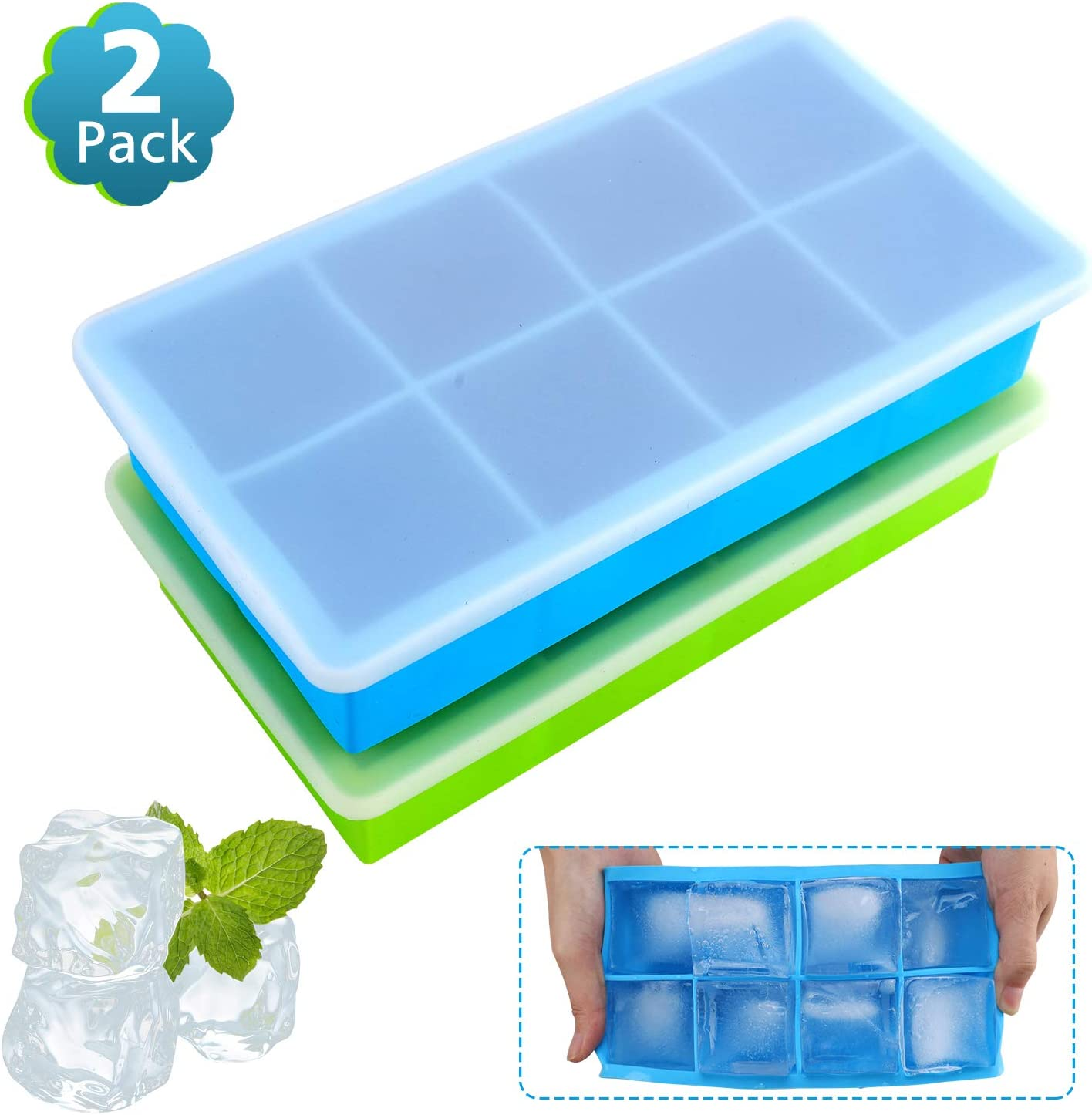 (2 Pack) Food Grade Large Silicone Ice Cube Trays,Limque 8 Ice Cube Mold with Removable Lid - for Whiskey, Cocktails, Ice Coffee Drinks, Juices, Baby Complementary Foods BPA Free