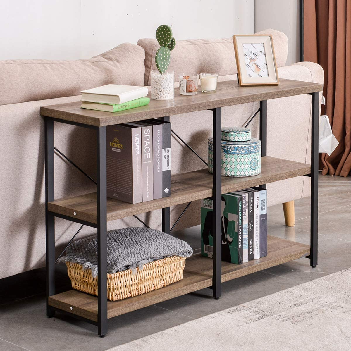 GRELO HOME Rustic Console Table for Entryway, Industrial Sofa/Entry Table with Storage Open Bookshelf, 47 Inch Gray Oak