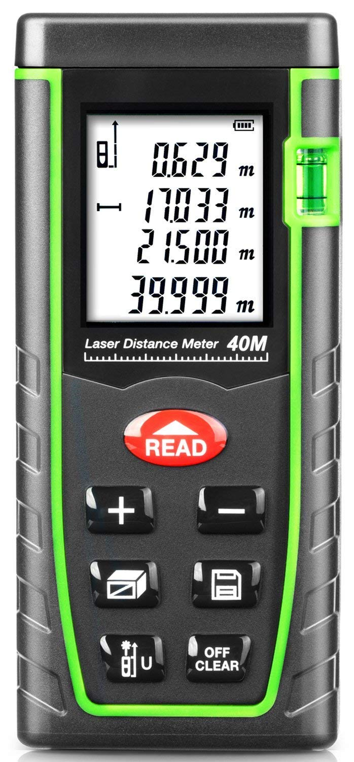 131ft Laser Compact Laser Distance Measure Digital Laser Tape Measure Laser Measuring Device with Pythagorean Mode, Measure Distance, Area and Volume