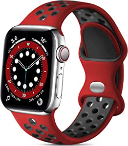 Lerobo Compatible with Apple Watch Band 44mm 42mm 40mm 38mm, Soft Silicone Sport Breathable Replacement Band Compatible for Apple Watch SE iWatch Series 6 Series 5 4 3 2 1 Women Men, Red/Black, M/L