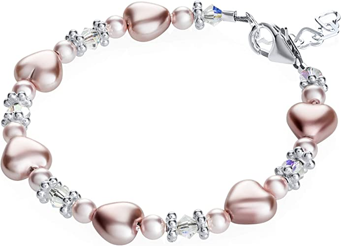 Baby Bracelet with Pink Pearls and Swarovski Crystals with Sterling Silver Daisy