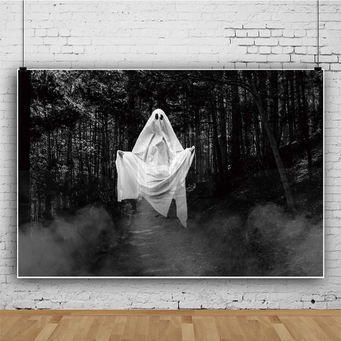 Yeele 5x3ft Halloween Backdrop Spooky Realistic Halloween Ghost in The Forest Photography Background Halloween Eve Party Kid Adult Acting Show Holiday Portrait Photoshoot Studio Props