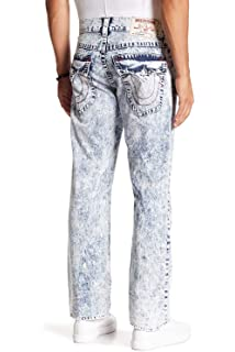dde3b1ca9dd True Religion Men's Straight Leg Relaxed Bandana Ripped Patch Jeans w/Flaps  in Summer Melody