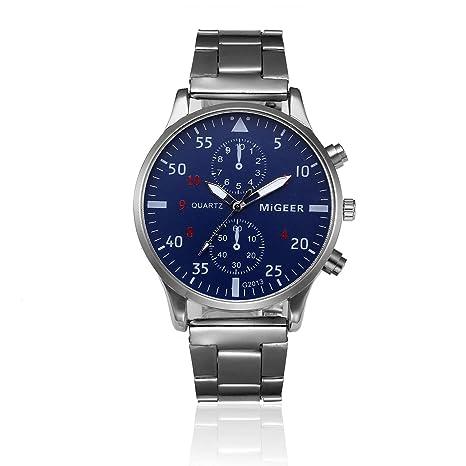 Relojes Hombre Deportivos 💝💞 Yesmile Moda Hombre Cristal Relojes Acero Inoxidable Reloj analógico de Cuarzo