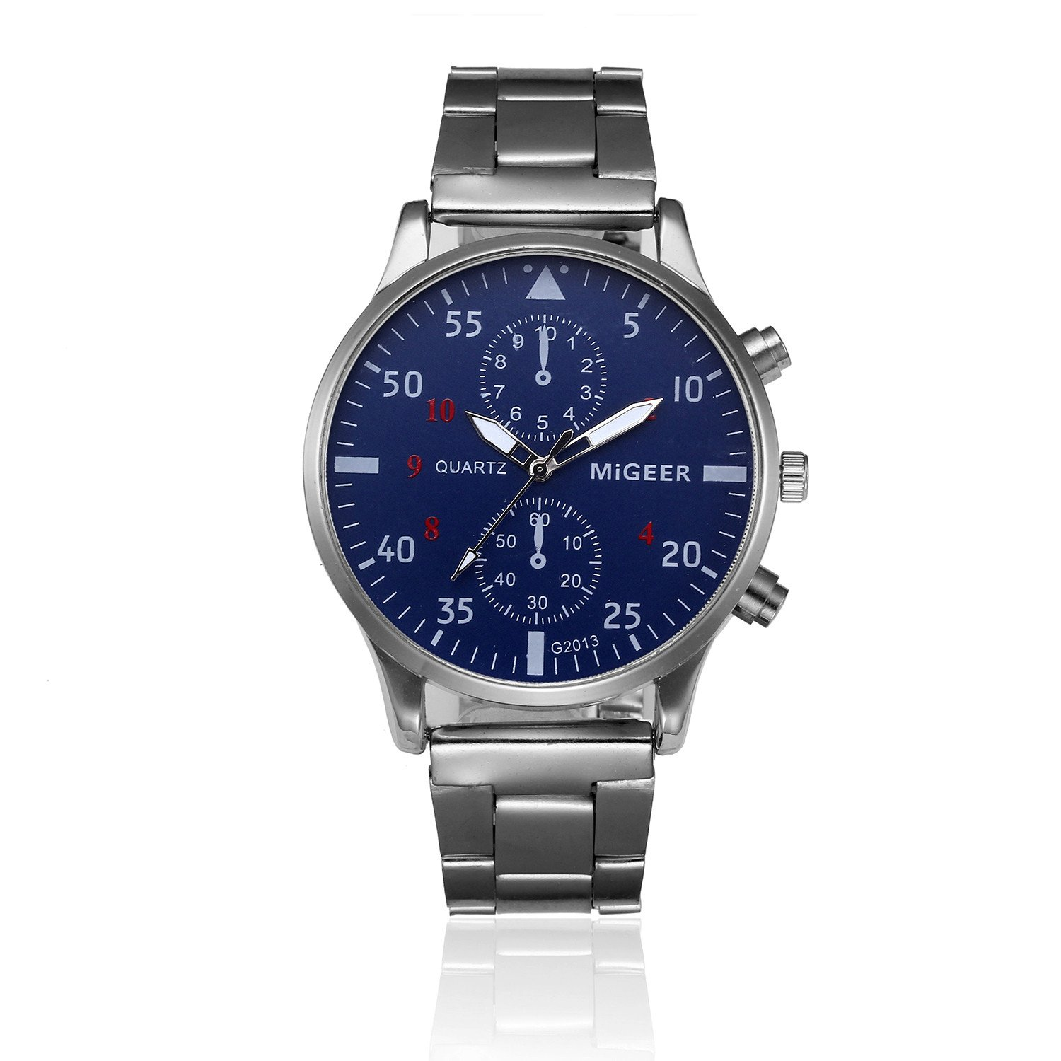 Mens Wrist Watch,POTO On Sale Crystal Stainless Steel Fashion Clearance Analog Quartz Gift Watches (Silver+Blue)