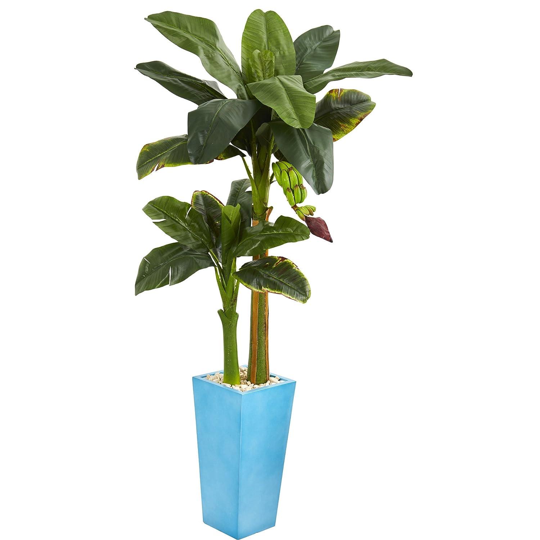 ほぼ天然バナナ人工木 ターコイズタワー花瓶 5.5フィート B078TV7FLN