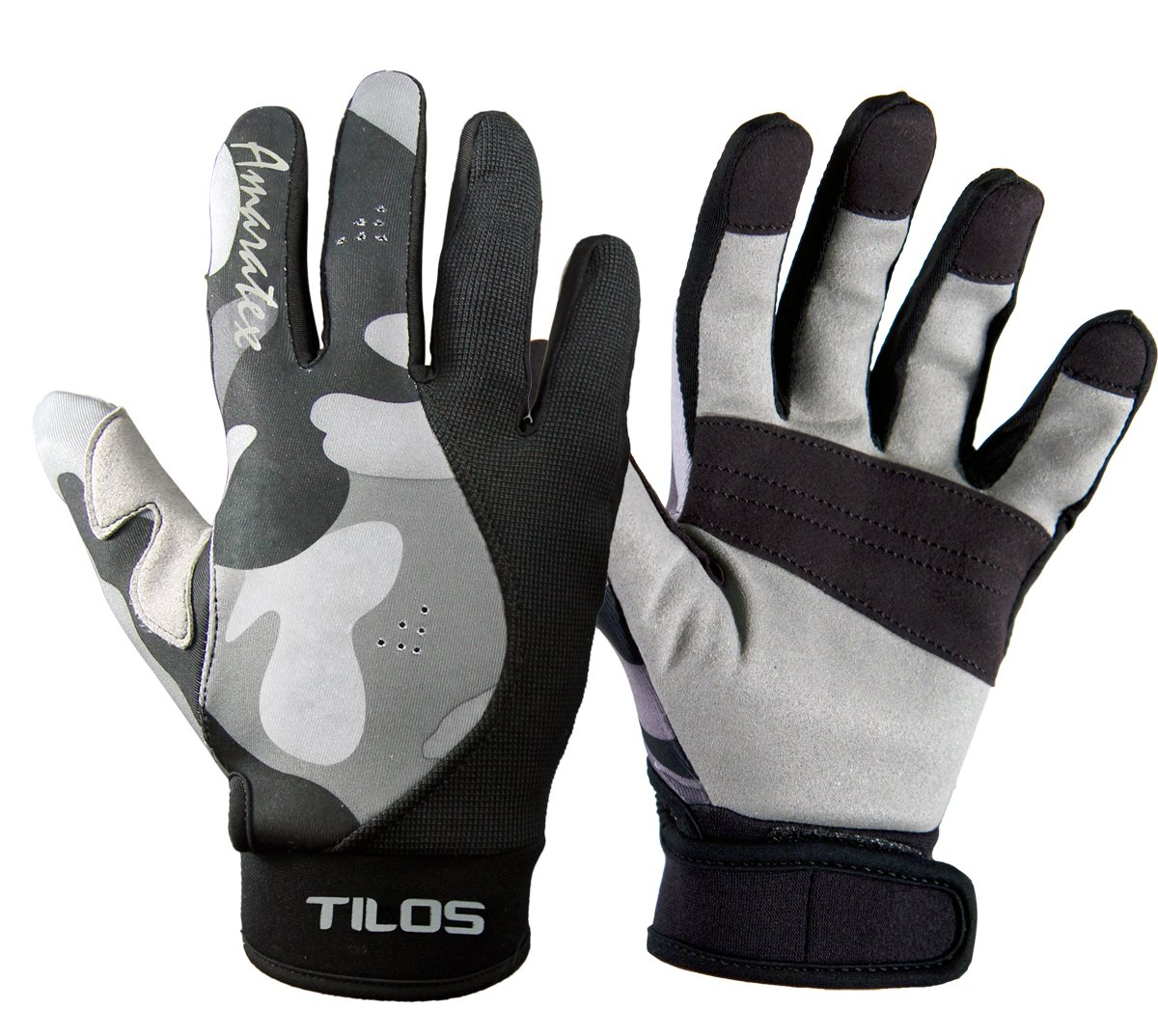 Tilos 1.5mm Tropical Dive Gloves Stretchy Mesh with Amara Leather for Snorkeling, Kayaking, Water Jet Skiing, Sailing, Scuba Diving, Rafting (Gray Camo, XL) by Tilos