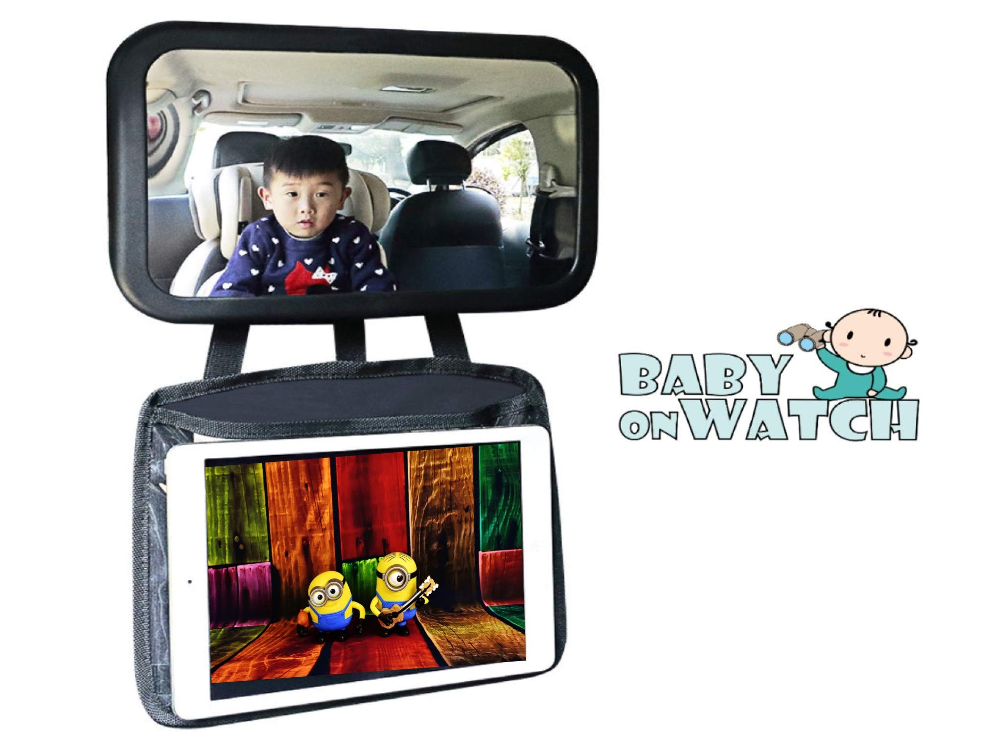 Baby Car Mirror with Ipad Holder   View Infant in Rear Facing Car Seat   Baby Mirror for Back Seat with Tablet Holder by Baby on Watch