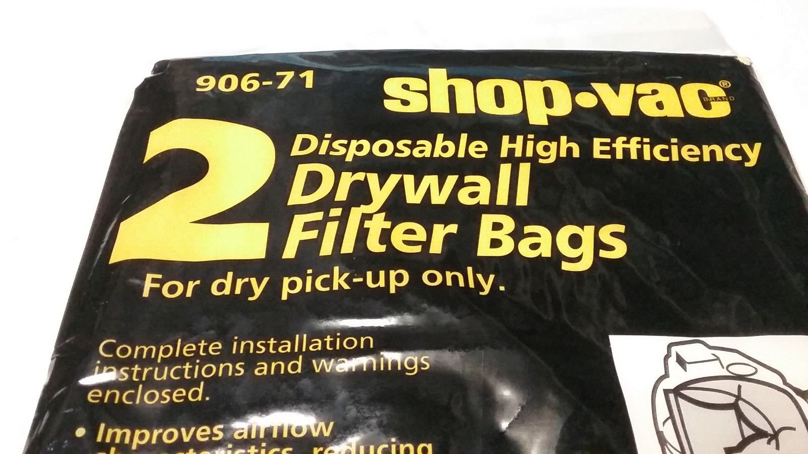 1 New 2 Pack Shop-Vac #906-71 Drywall,Cement,Fireplace Dust Filter Bags - USA