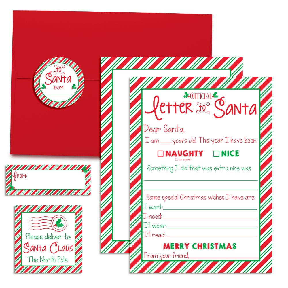 Official Childrens Letter To Santa Kit Of What They Want Need Wear Read 4 5x7 Fill In Cards With Red Envelopes Along 12 Coordinating