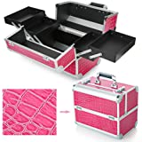 Hotrose Extra Large Space Storage Beauty Box Make up Nail Jewelry Cosmetic Vanity Case (Crocodile pattern, Rose Red)