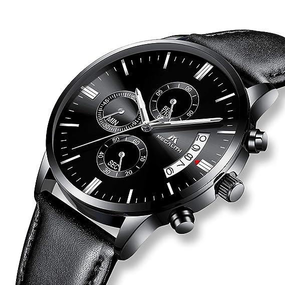Relojes para Hombres Nero Reloj de Cuarzo analógico Cronógrafo de Lujo  Fecha Calendario Impermeable Negocio Hombre Relojes de Moda Cuero Diseñador  de ... 00bc40484fd3