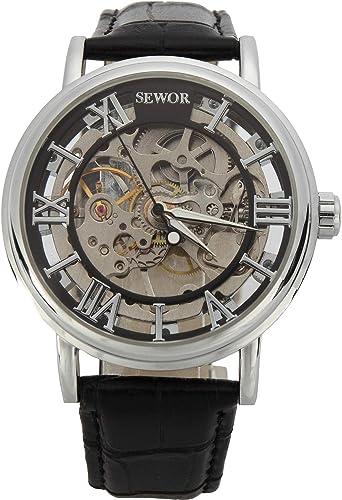 SEWOR orologio scheletrato da uomo in stile vintage a carica
