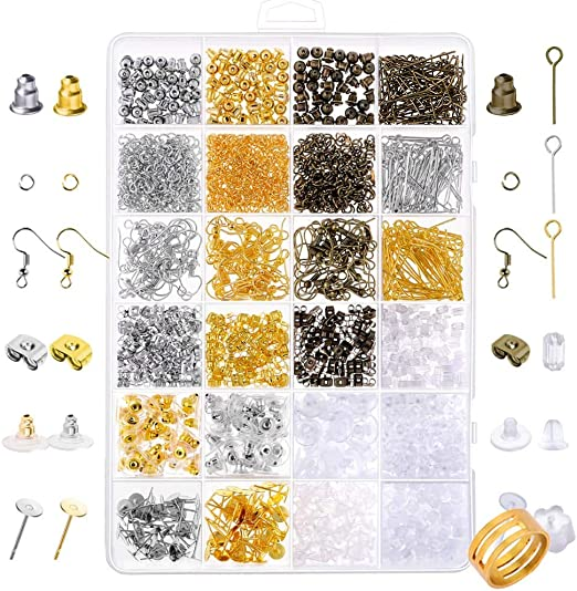Paxcoo 2400Pcs Earring Making Supplies Kit with 24 Style Earring Hooks Earring