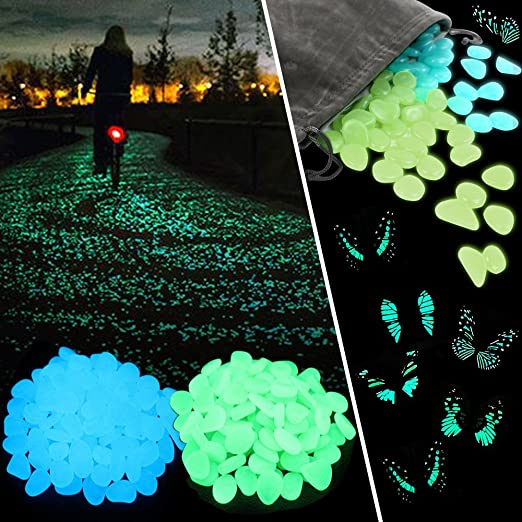 Tomnk 300 piedras luminosas piedras fluorescente, se usan para el camino del jardín y la decoración, azul y verde, se regala la mariposa luminosa: Amazon.es: Jardín