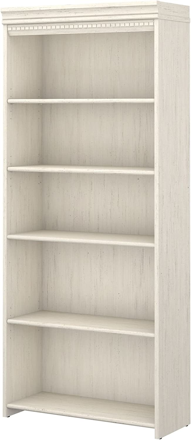 Bush Furniture Stanford 5 Shelf Bookcase in Antique White