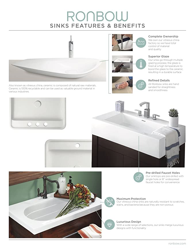 ronbow 20 inch undermount ceramic vessel bathroom vanity sink in rh amazon com