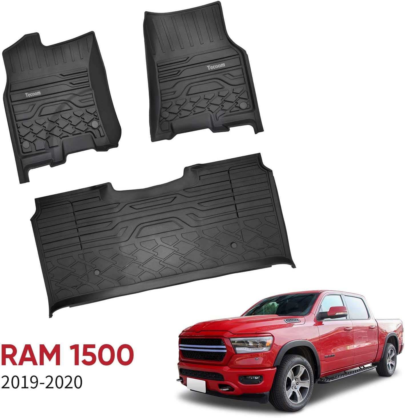 Tecoom Floor Mats Front /& 2nd Seat Floor Liners Fits 2019-2020 Ram 1500 Crew Cab All Weather TPE
