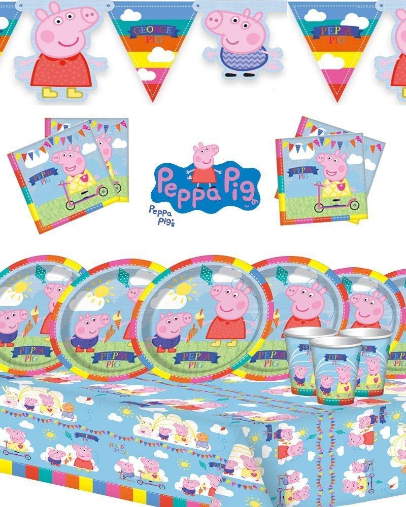 Peppa Pig Kit de Fiesta de cumpleaños para niños para 8, 16, 24 y 32 con banderín.