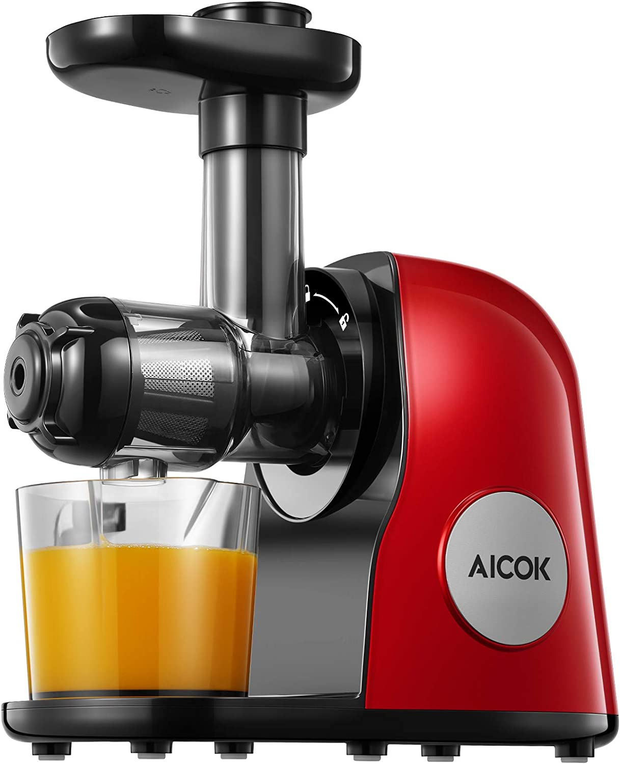 Juicer Machines, Aicok Slow Masticating Juicer Extractor Easy to Clean, Quiet Motor & Reverse Function, BPA-Free, Cold Press Juicer with Brush, Juice Recipes for Vegetables and Fruits, Hot Red