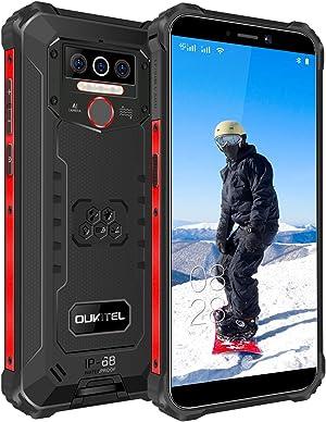 OUKITEL WP5 Pro Rugged Cell Phones, 4GB + 64GB Unlocked Smartphone, 8000mAh Battery IP68 Waterproof Phone Android 10 Global Version 4G LTE Dual-SIM 5.5inches Triple Camera Face Fingerprint (Black)