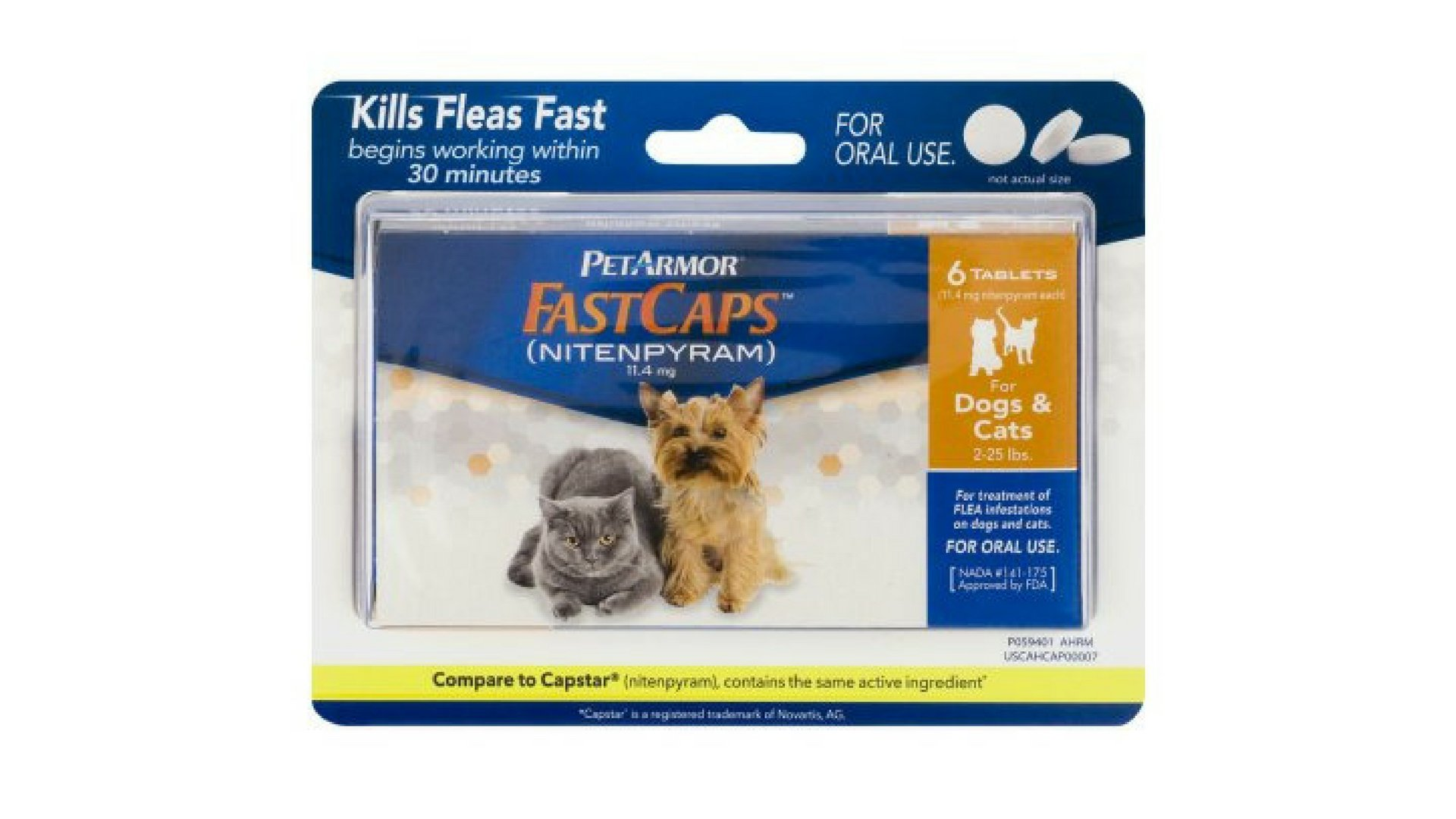 PETARMOR FastCaps (Nitenpyram) Oral Flea Tablets for Small Dogs and Cats (2 to 25 Pounds), 6 Tablets