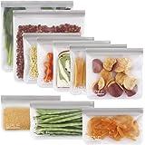 SPLF 10 Pack BPA FREE Reusable Storage Bags (5 Reusable Sandwich Bags, 3 Reusable Snack Bags, 2 Reusable Gallon Bags…