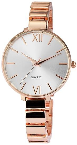 Reloj mujer plata rosado. Oro números romanos Analógico metal Reloj de pulsera