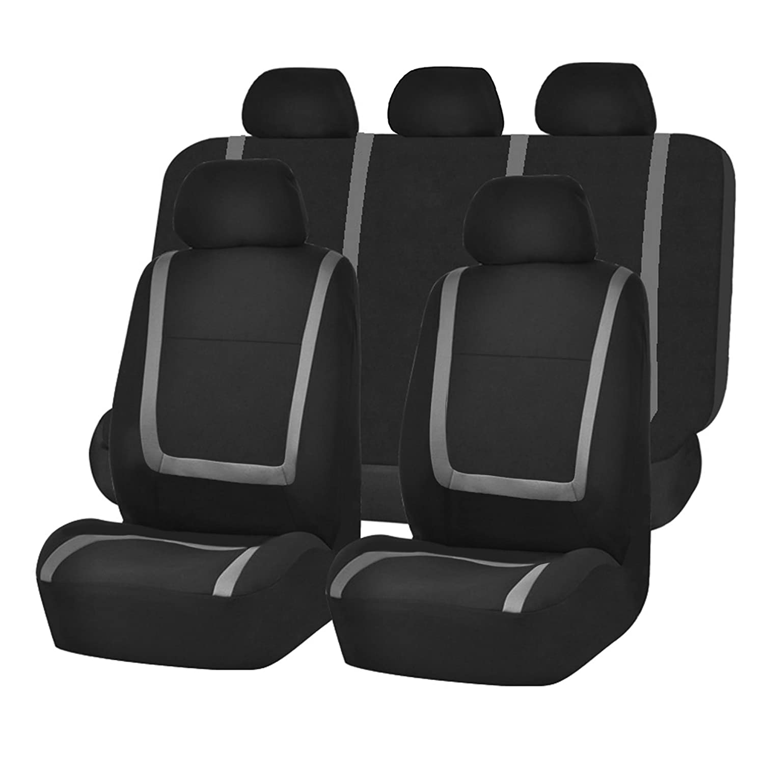 Truck or Van Suv FH Group FH-FB032115 Unique Flat Cloth Seat Cover w 5 Detachable Headrests and Solid Bench Red//Black- Fit Most Car